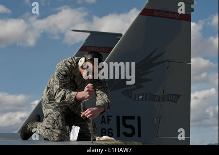 U.S. Air Force Staff Sgt. Matthew Shelburne, a crew chief assigned to the 142nd Aircraft Maintenance Squadron, conducts - Stock Photo