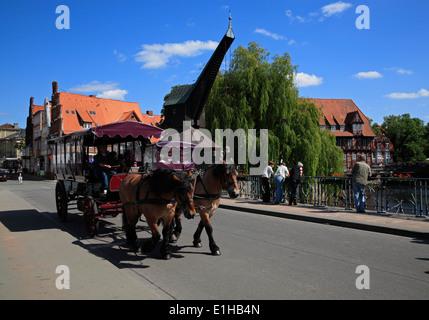 Carriage in Wasserviertel, old harbour, Lüneburg, Lueneburg, Lower Saxony, Germany, Europe - Stock Photo