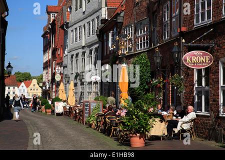 Restaurants in  Heiligengeiststrasse, Lueneburg,  Lüneburg, Lower Saxony, Germany, Europe - Stock Photo