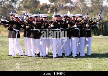 The U.S. Marine Corps Silent Drill Platoon performs during a battle color ceremony at Marine Corps Air Station Miramar, - Stock Photo