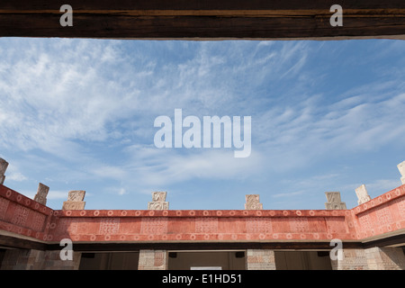 Courtyard of the Palace of Quetzalpapalotl in Teotihuacan - San Juan Teotihuacán, State of Mexico, Mexico - Stock Photo