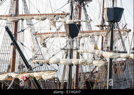 Rigging and crow's nests of a tall ship docked at Matanzas Bay in St. Augustine, Florida, USA. - Stock Photo