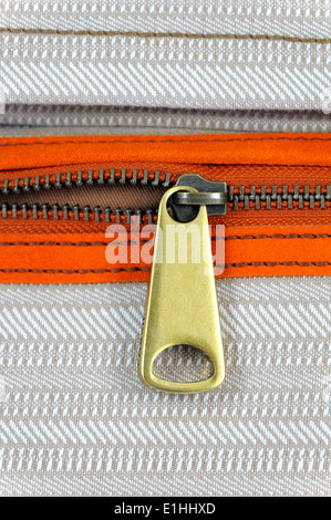 Unzipped zip on a Fossil brand shoulder bag - Stock Photo