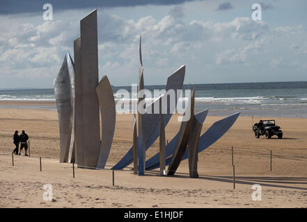 Vierville Sur Mer, France. 04th June, 2014. The D-Day monument at Omaha Beach in Vierville Sur Mer, France, 04 June - Stock Photo