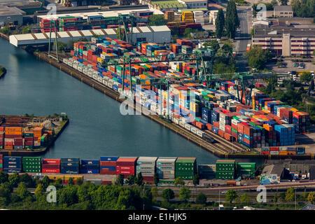 Aerial view, Dortmund port with container terminal, Dortmund, Ruhr district, North Rhine-Westphalia, Germany - Stock Photo