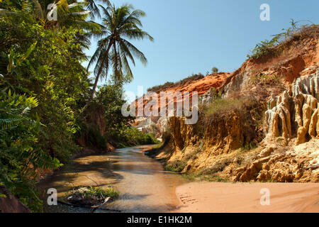 Red River Canyon, sandstone, river bed, near Mui Ne, South Vietnam, Vietnam - Stock Photo