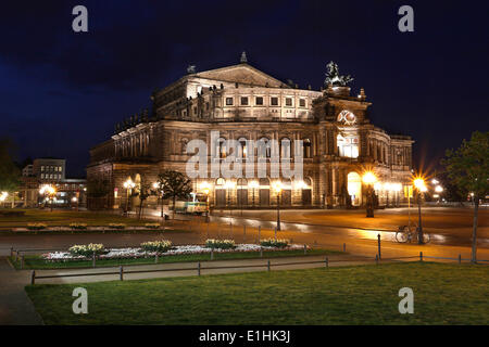 Semperoper at the blue hour, historic centre, Dresden, Saxony, Germany - Stock Photo