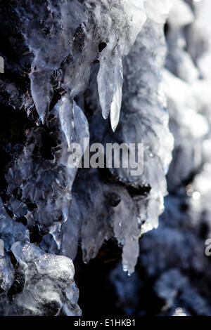 Water dripping from icicles on volcanic rock, La Palma, Canary Islands, Spain - Stock Photo