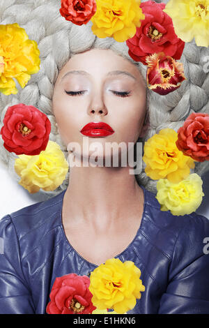 Fantasy. Portrait of Sleeping Woman with Closed Eyes and Colorful Flowers - Stock Photo