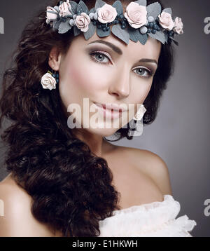 Attractiveness. Perfection. Fascinating Cutie wearing Wreath Of Flowers - Stock Photo