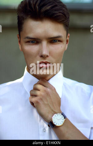 Individuality. Ambitious Successful Handsome Caucasian Man with Watch - Stock Photo