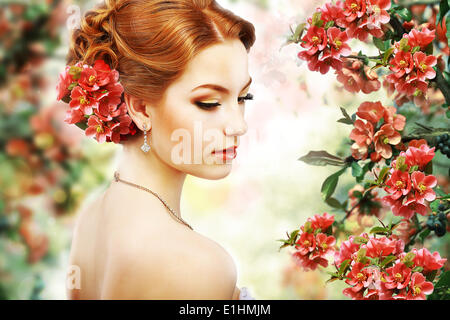 Relaxation. Profile of Red Hair Beauty over Natural Floral Background. Nature. Blossom - Stock Photo