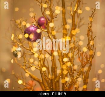 Christmas Tree Decor - Gilded Gold Bokeh Background - Stock Photo