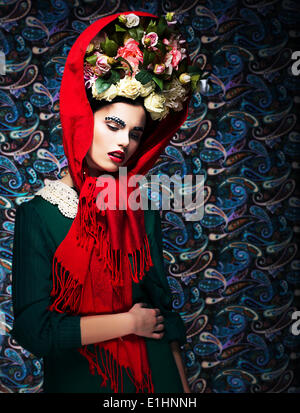 Maiden. Tenderness. Dreamy Fascinating Woman with Flowers. Renaissance - Stock Photo
