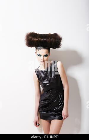 Modern Style. Funny Glamorous Fashion Model with Punk Coiffure. Creativity - Stock Photo