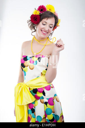 Beauty - vernal happy young woman in colorful bright dress. Series of photos - Stock Photo