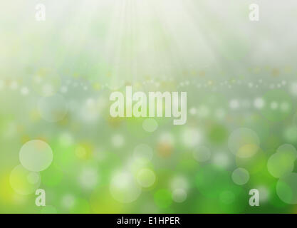 Green blurred background and morning sunlight as desktop - Stock Photo