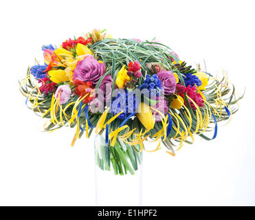 Floristics - colorful festive bouquet of flowers isolated on white background - Stock Photo