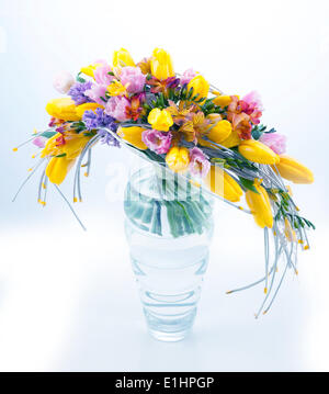 Fresh festive bouquet of colorful flowers in vase on white background - Stock Photo