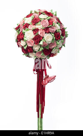 Colorful festive flower bouquet arrangement isolated on white