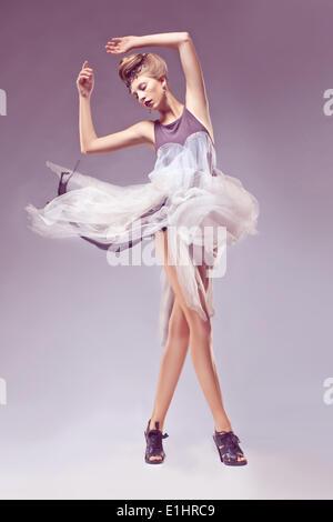 Fashion female in medieval vintage era dress. Dance, carnival - Stock Photo
