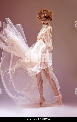 Portrait of beautiful woman in victorian era gown dress. Renaissance or baroque style - Stock Photo