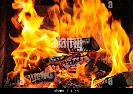 wood fire in the fireplace - Stock Photo