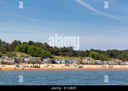 Wells-next-the-sea, UK - June 1, 2014 : People spending a sunny day at Wells beach ing Norfolk - Stock Photo