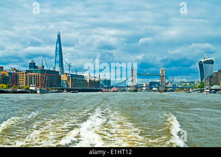 View of the Shard, Tower Bridge and the Walkie Talkie skyscraper from a river bus on the River Thames, London England - Stock Photo