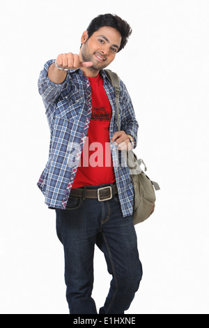 A young man showing disapproval, Pune, India - Stock Photo