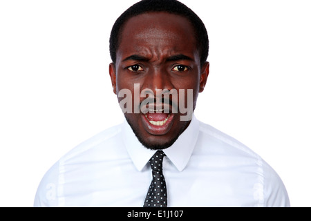 Angry african busienssman screaming on white background - Stock Photo