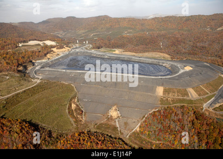 Forests and mountaintop removal site, aerial view, Appalachia, Wise County, Virginia, USA - Stock Photo