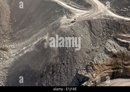 Dump truck on mountaintop removal site, Appalachia, Wise County, Virginia, USA - Stock Photo