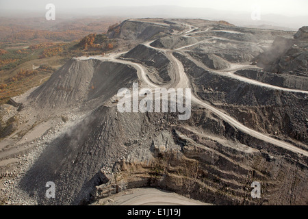 Dirt tracks on mountaintop removal site, aerial view, Appalachia, Wise County, Virginia, USA - Stock Photo