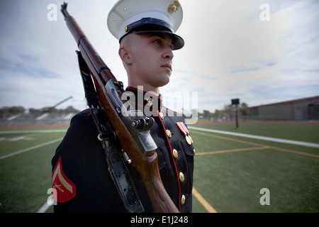 Lance Cpl. Garrett A. Troutner is a rifleman assigned to Marine Barracks Washington as a part of the Silent Drill - Stock Photo