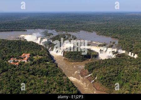 South America, Brasilia, Parana, Iguazu National Park, Iguazu Falls and Belmond Hotel das Cataratas - Stock Photo