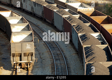 Rows of freight wagons with coal from mountaintop removal site, Appalachia, Wise County, Virginia, USA - Stock Photo