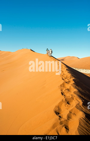 Africa, Namibia, Sossusvlei, Group of people hiking in the sand dunes - Stock Photo