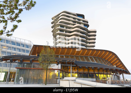 Germany, Hamburg, Unilever House and Marco Polo Tower - Stock Photo