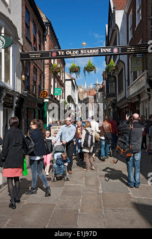 Visitors in Stonegate York North Yorkshire England UK United Kingdom GB Great Britain - Stock Photo