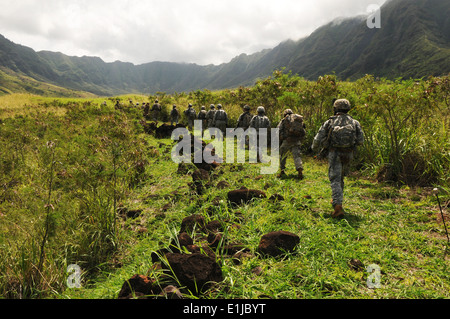 U.S. Soldiers assigned to the Bravo Company, 3rd Squadron 4th Calvary Regiment, 3rd Brigade Combat Team, 25th Infantry - Stock Photo