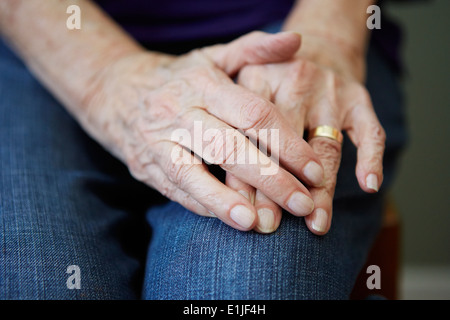Close up of 82 year old senior woman's hands - Stock Photo