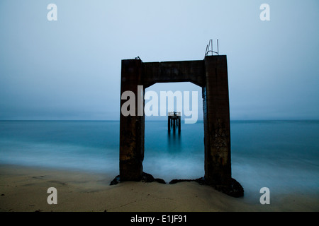 Abandoned Pier, Davenport California - Stock Photo