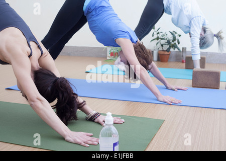 Women in downward facing dog pose - Stock Photo