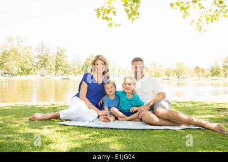 Happy family at lakeside, Newport Beach, California, USA - Stock Photo
