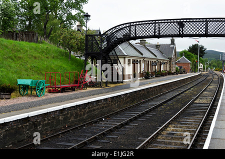 Boat of Garten Station on the Strathspey Railway in the Scottish Highlands. - Stock Photo
