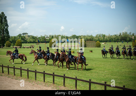 Italian soldiers conduct a display of cavalry maneuvers in honor of Chief of Staff of the U.S. Army Gen. Raymond - Stock Photo