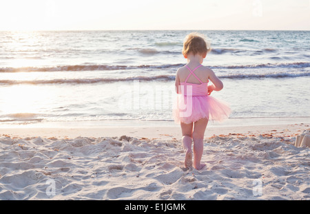 Girl wearing tutu on beach in Tulum, Mexico - Stock Photo