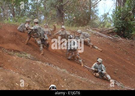 U.S. Soldiers assigned to the 3rd Brigade Combat Team, 25th Infantry Division react to a simulated battlefield event - Stock Photo
