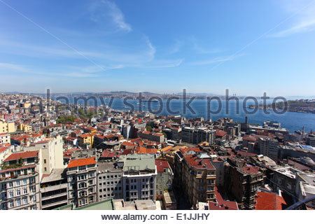 View of the Bosphorus strait from Galata Tower, in Istanbul, Turkey - Stock Photo